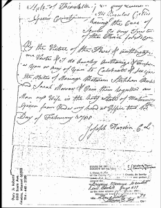Stephen Babb (1-2-2-1-6) & Sarah Morrow Marriage-Greene Co, TN Book A, Page 577