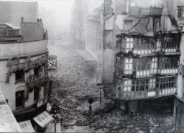 Dutch House, Wine Street (after the Blitz)